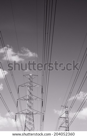 Black and white of power transmission lines/ Power transmission lines