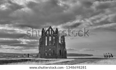 Black and white of the ruins of  Abbey in beautiful Whitby, England, United Kingdom