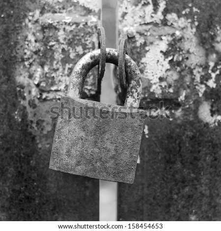 black and white Old rusted Padlock