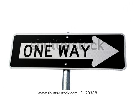 Black and white one way sign on white background