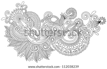black and white original hand draw line art ornate flower design Ukrainian traditional style Raster version