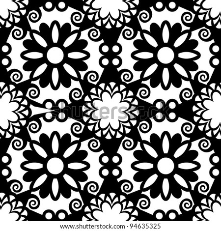 black and white ornate seamless pattern, decorative arabesque background