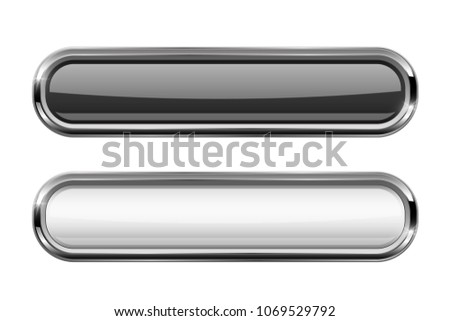 Black and white oval buttons with chrome frame. 3d illustration isolated on white background. Raster version