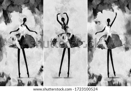 black and white painting African girl ballerina dancing abstract figure. collection of designer. Decoration for interior. Contemporary abstract art on canvas. A set of pictures with different texture.
