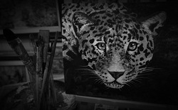 Black and White, Painting and coloring of  cute  tiger