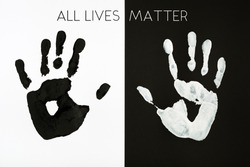 Black and white palm prints background inscription All Lives Matter. Equal Symbol. No racism concept.