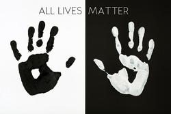 Black and white palm prints background inscription All Lives Matter. Equal Symbol. No racism concept.