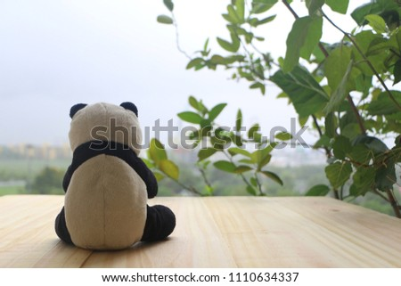 Black and white panda doll sitting alone on the wooden balcony, looking out to the cityscapes.