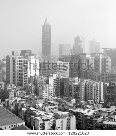 Black and white panorama of Macau in the morning.