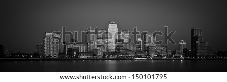Black and White panoramic view of Canary  Wharf, the financial district in London.