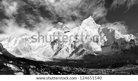 black and white panoramic view of Mount Everest with beautiful sky and Khumbu Glacier - Khumbu valley - Nepal
