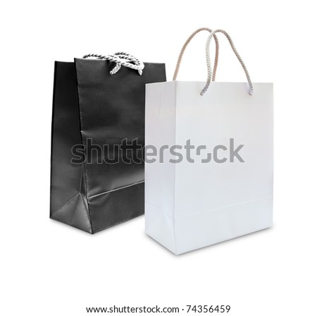black and white paper shopping bag isolated