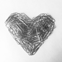 Black and white paperclips heart. Office. Abstract. Art. Noir.