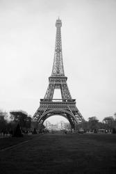 black and white paris eiffel tower
