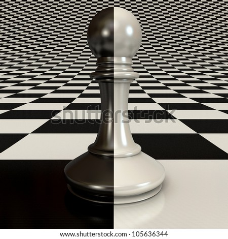 Black and white pawn on the chessboard background. 3d render
