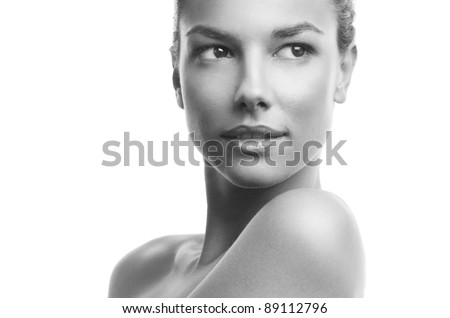 Black and white photo of a beautiful woman