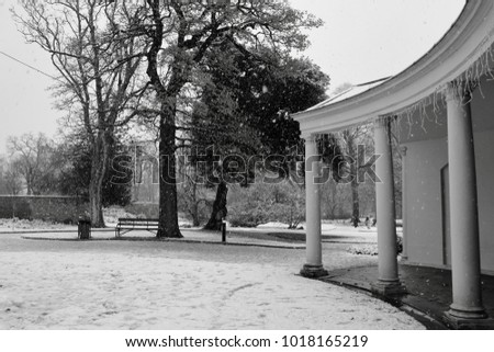 black and white photo of a park ...