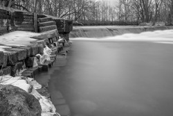 Black and White Photo of a very old Damn site on the Elkhart River