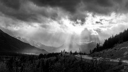 Black and White Photo of Bad Weather over Highway 1 near the town of Banff in Banff National Park, Alberta in the Canadian Rockies