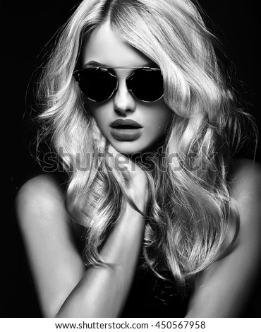 black and white photo of beautiful cute blonde woman girl in sunglasses
