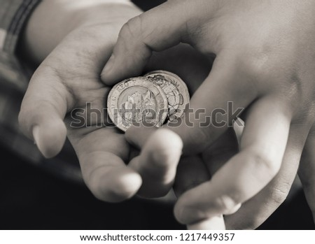 free photos hand with uk coins avopix com