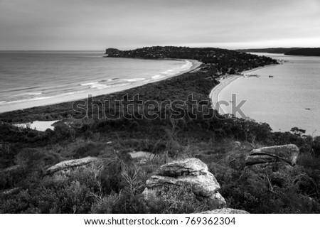Black and white photo of Palm Beach at sunset, Sydney Australia #769362304