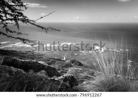 Stock Photo Black and white photo of The Diamond Head Lighthouse, Oahu Hawaii