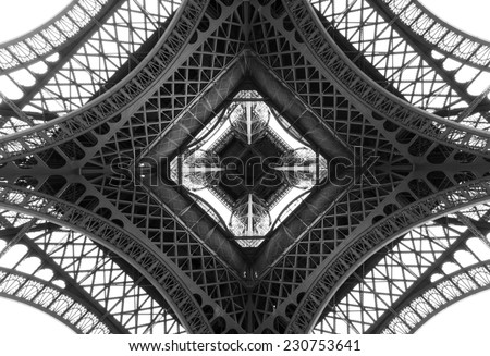 Black and white photo of the Eiffel Tower Paris France