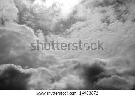 Black-and-white photo of the sky with clouds
