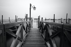 Black and white photo of Venice seafront. Venice, Italy