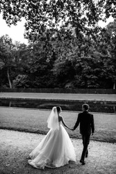 Black and white photo.Wedding in the castle. Stylish and beautiful. Princess's dress. Lush white dress and veil. Bride is a brunette. The groom in a black suit. A couple is walking in the park.