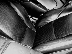 Black and white photograph featuring the driver's seat of an MX-5 (Australia).