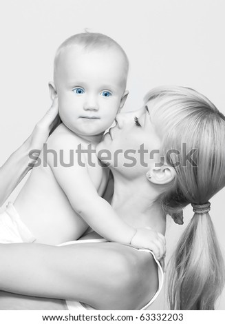 black and white photography - Newborn baby with mother