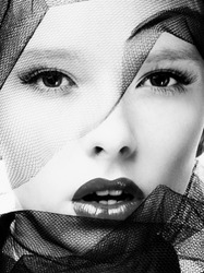 Black and white photography of a beautiful fashion model face