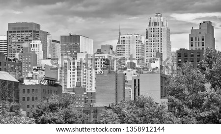 Black and white picture of New York City skyline, USA. #1358912144