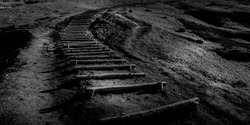 Black and white picture of steps to somewhere on the island of Madeira