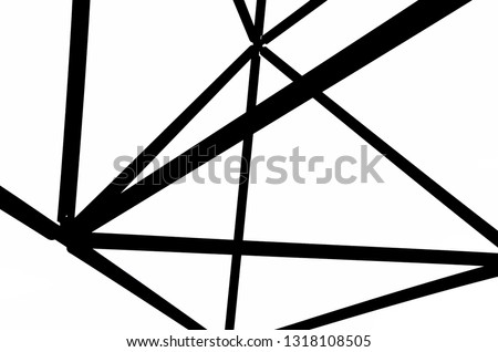 Black and white picture of the steel construction of the Tetrahedron in Bottrop, Germany. The basics of the structure are formed by triangles. The design is reminiscent of the Sierpinski tetrix.