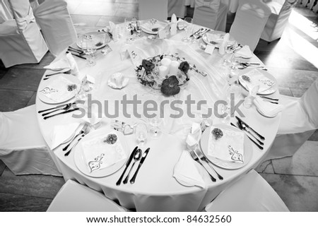 stock photo black and white picture of wedding table setting