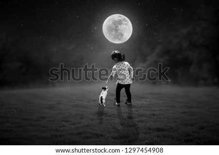 Black and white pictures. Little mice play with rabbits on a full moon night.