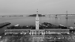 Black and white pier tower