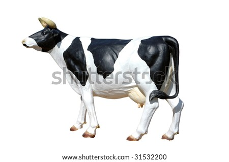 black and white plastic Cow on white background - stock photo