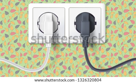 Black and white plugs inserted in electrical outlet on backdrop of wall with wallpaper. Realistic icons of device for connecting electrical appliances. 3D illustration.