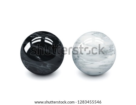 Black and white polished stone spheres, meditation balls isolated on white. 3D rendering with clipping path #1283455546