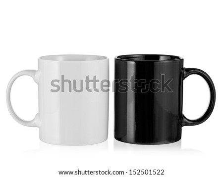 Black and white porcelain coffee cup