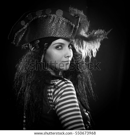 black and white portrait of a actress woman in a pirate costume with a gun on  sc 1 st  Avopix.com & Free photos Pirate Girl/ Sexy Pirate Costume | Avopix.com
