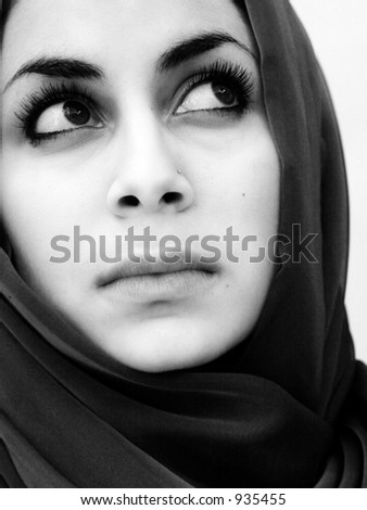 Black and white portrait of a beautiful sad woman stock photo