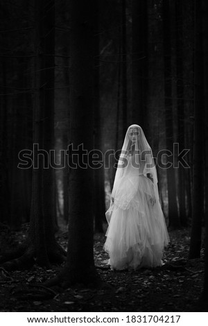 Black and white portrait of a ghost bride in a long white dress and veil standing in a gloomy dark forest. Stockfoto ©