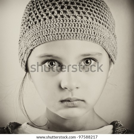 Black and white portrait of a girl.Retro with grain added