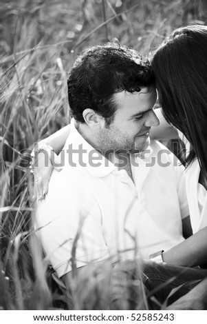 Black and white portrait of a lovely couple in love.