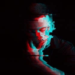 black and white portrait of a man with a computer glitch effect